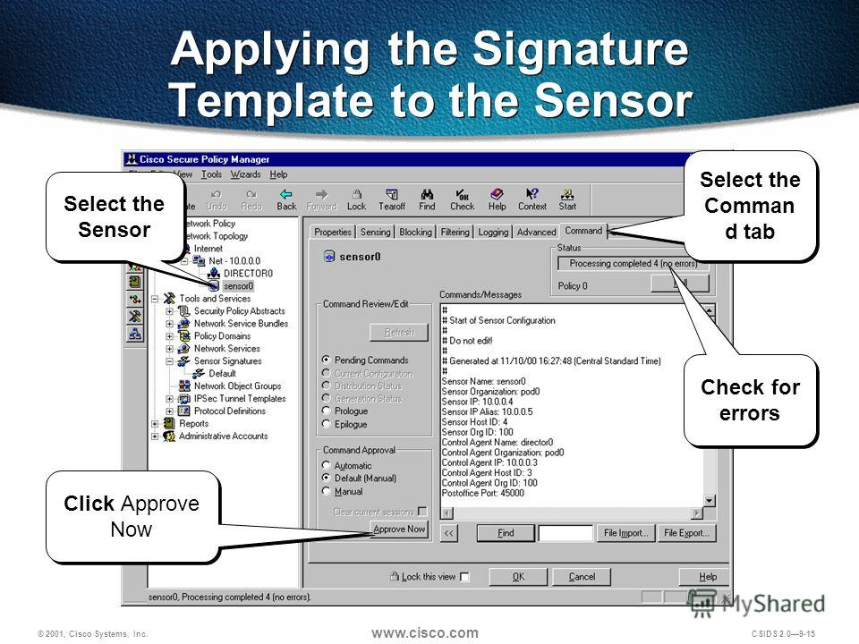 © 2001, Cisco Systems, Inc. www.cisco.com CSIDS 2.09-15 Applying the Signature Template to the Sensor Select the Sensor Select the Comman d tab Check for errors Click Approve Now