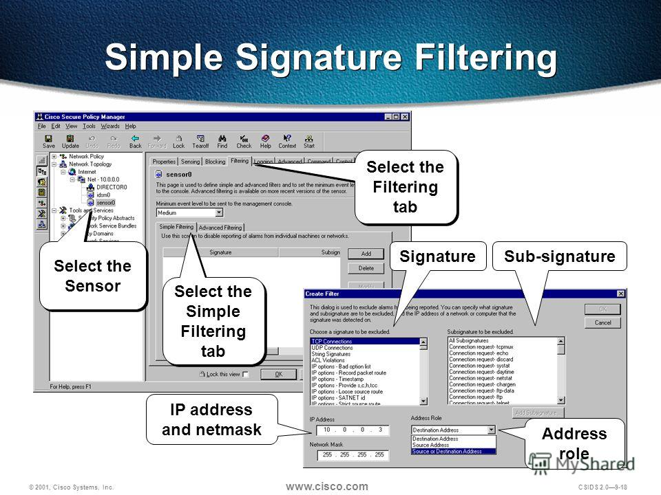 © 2001, Cisco Systems, Inc. www.cisco.com CSIDS 2.09-18 Simple Signature Filtering Sub-signatureSignature Address role IP address and netmask Select the Sensor Select the Filtering tab Select the Simple Filtering tab