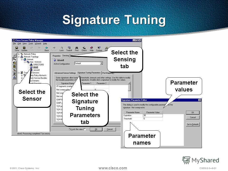 © 2001, Cisco Systems, Inc. www.cisco.com CSIDS 2.09-21 Signature Tuning Parameter names Parameter values Select the Sensor Select the Sensing tab Select the Signature Tuning Parameters tab