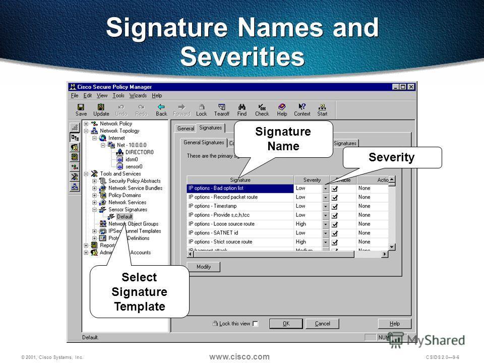 © 2001, Cisco Systems, Inc. www.cisco.com CSIDS 2.09-6 Signature Names and Severities Severity Signature Name Select Signature Template