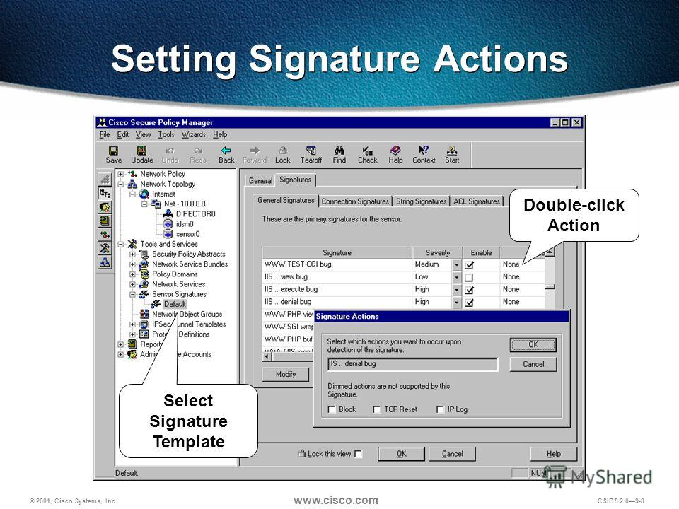© 2001, Cisco Systems, Inc. www.cisco.com CSIDS 2.09-8 Setting Signature Actions Double-click Action Select Signature Template