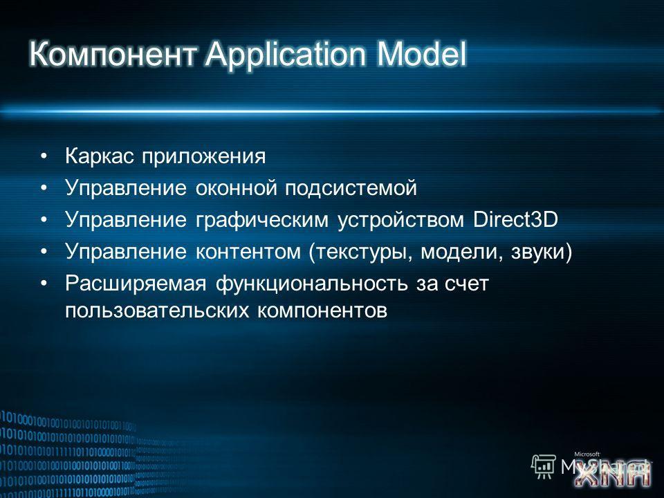 Каркас приложения Управление оконной подсистемой Управление графическим устройством Direct3D Управление контентом (текстуры, модели, звуки) Расширяемая функциональность за счет пользовательских компонентов
