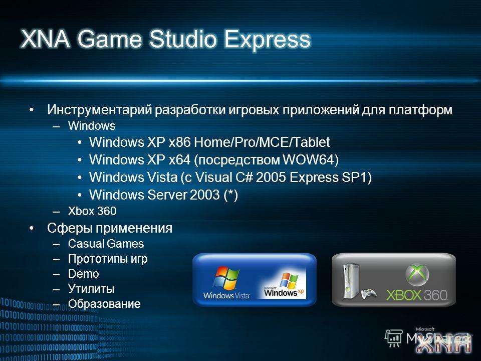 Инструментарий разработки игровых приложений для платформ –Windows Windows XP x86 Home/Pro/MCE/Tablet Windows XP x64 (посредством WOW64) Windows Vista (с Visual C# 2005 Express SP1) Windows Server 2003 (*) –Xbox 360 Сферы применения –Casual Games –Пр