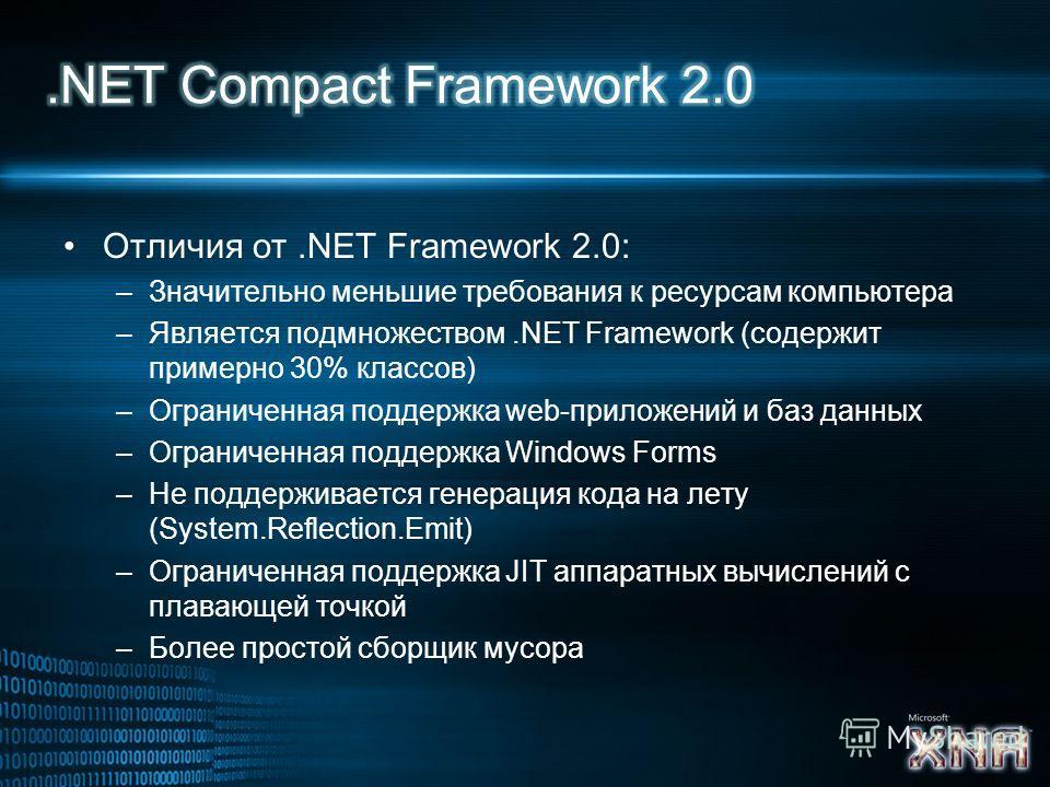 Отличия от.NET Framework 2.0: –Значительно меньшие требования к ресурсам компьютера –Является подмножеством.NET Framework (содержит примерно 30% классов) –Ограниченная поддержка web-приложений и баз данных –Ограниченная поддержка Windows Forms –Не по