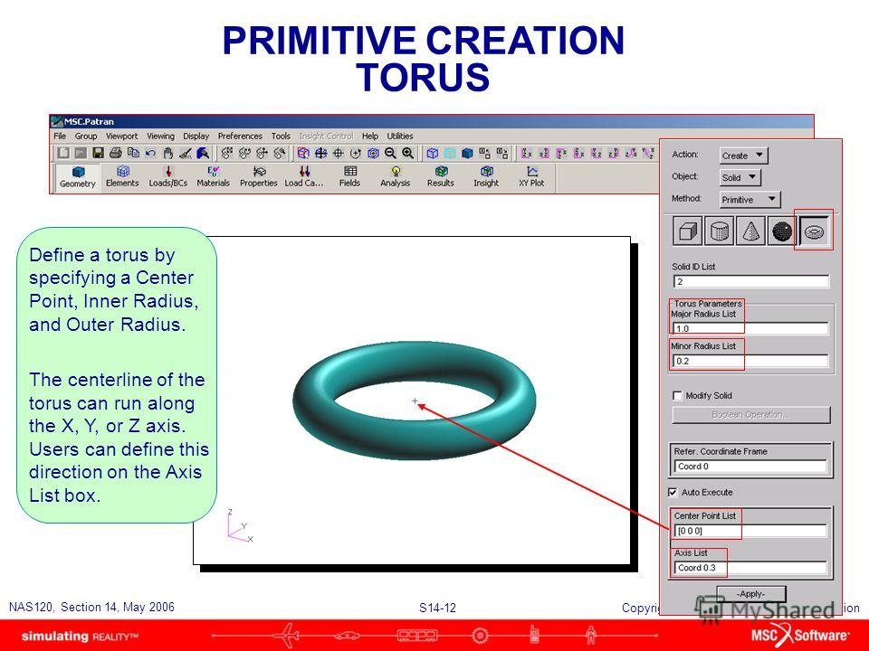 S14-12 NAS120, Section 14, May 2006 Copyright 2006 MSC.Software Corporation PRIMITIVE CREATION TORUS Define a torus by specifying a Center Point, Inner Radius, and Outer Radius. The centerline of the torus can run along the X, Y, or Z axis. Users can