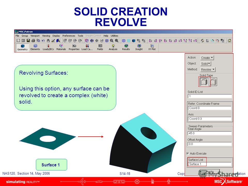 S14-18 NAS120, Section 14, May 2006 Copyright 2006 MSC.Software Corporation SOLID CREATION REVOLVE Revolving Surfaces: Using this option, any surface can be revolved to create a complex (white) solid. Surface 1