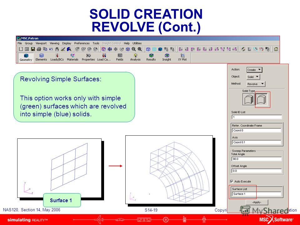 S14-19 NAS120, Section 14, May 2006 Copyright 2006 MSC.Software Corporation SOLID CREATION REVOLVE (Cont.) Revolving Simple Surfaces: This option works only with simple (green) surfaces which are revolved into simple (blue) solids. Surface 1