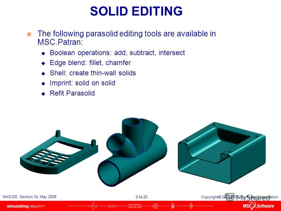 S14-20 NAS120, Section 14, May 2006 Copyright 2006 MSC.Software Corporation SOLID EDITING n The following parasolid editing tools are available in MSC.Patran: u Boolean operations: add, subtract, intersect u Edge blend: fillet, chamfer u Shell: creat