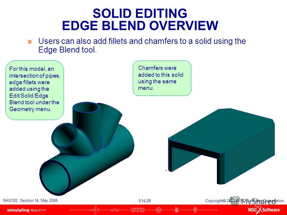 S14-28 NAS120, Section 14, May 2006 Copyright 2006 MSC.Software Corporation SOLID EDITING EDGE BLEND OVERVIEW n Users can also add fillets and chamfers to a solid using the Edge Blend tool. For this model, an intersection of pipes, edge fillets were