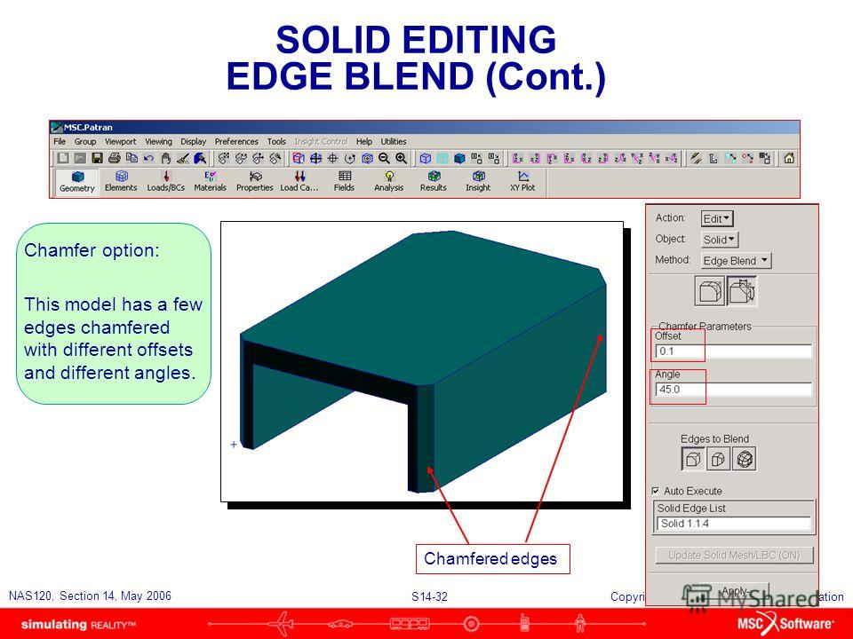 S14-32 NAS120, Section 14, May 2006 Copyright 2006 MSC.Software Corporation SOLID EDITING EDGE BLEND (Cont.) Chamfer option: This model has a few edges chamfered with different offsets and different angles. Chamfered edges