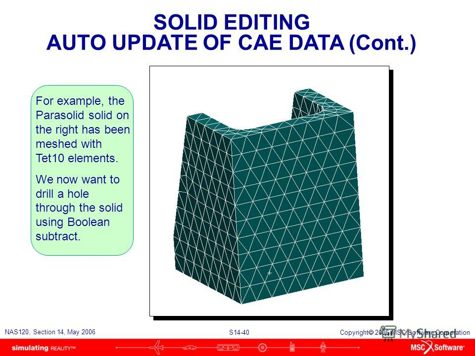 S14-40 NAS120, Section 14, May 2006 Copyright 2006 MSC.Software Corporation SOLID EDITING AUTO UPDATE OF CAE DATA (Cont.) For example, the Parasolid solid on the right has been meshed with Tet10 elements. We now want to drill a hole through the solid