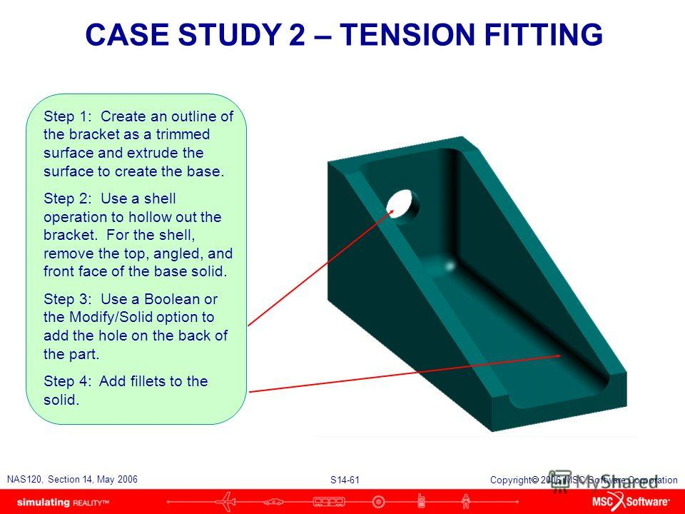 S14-61 NAS120, Section 14, May 2006 Copyright 2006 MSC.Software Corporation CASE STUDY 2 – TENSION FITTING Step 1: Create an outline of the bracket as a trimmed surface and extrude the surface to create the base. Step 2: Use a shell operation to holl