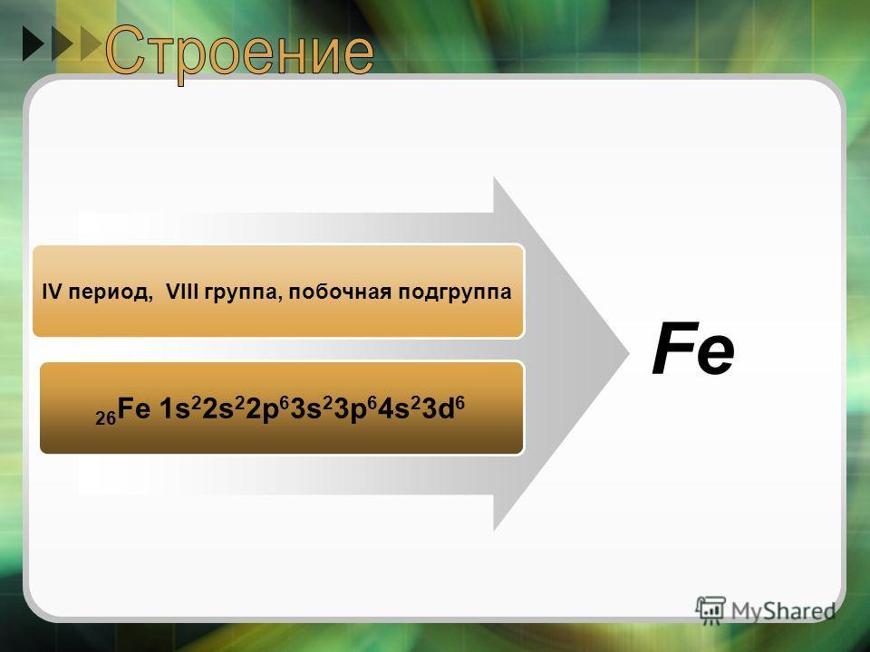 IV период, VIII группа, побочная подгруппа 26 Fe 1s 2 2s 2 2p 6 3s 2 3p 6 4s 2 3d 6 Fe