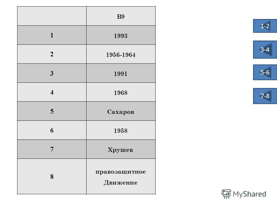 В9 1 1993 2 1956-1964 3 1991 4 1968 5 Сахаров 6 1958 7 Хрущев 8 правозащитное Движение 1-2 3-4 5-6 7-8