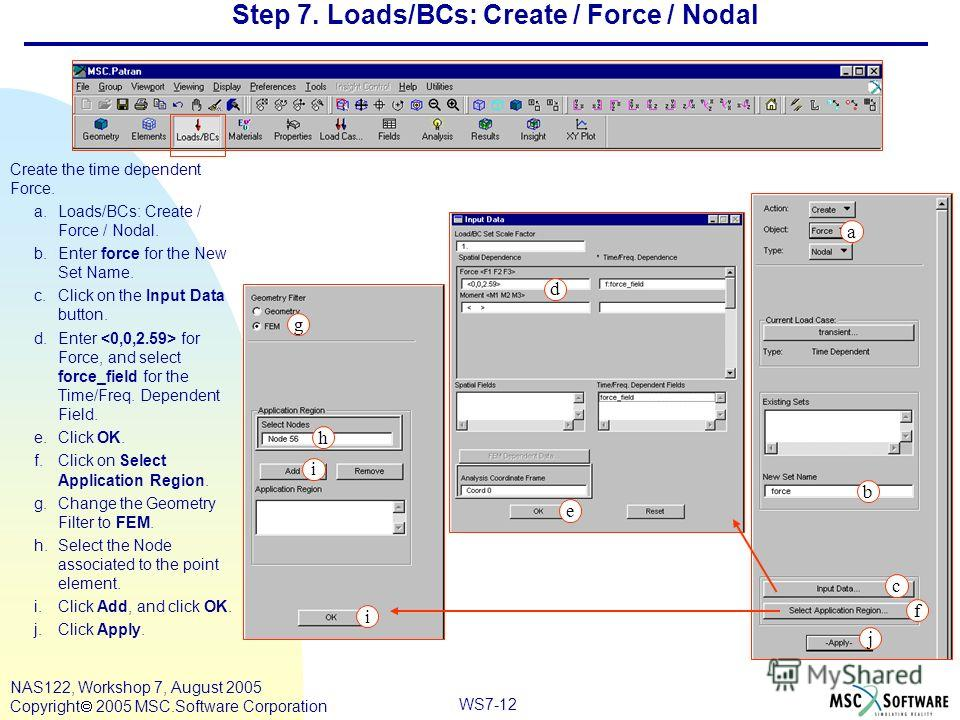 WS7-12 NAS122, Workshop 7, August 2005 Copyright 2005 MSC.Software Corporation Step 7. Loads/BCs: Create / Force / Nodal Create the time dependent Force. a.Loads/BCs: Create / Force / Nodal. b.Enter force for the New Set Name. c.Click on the Input Da
