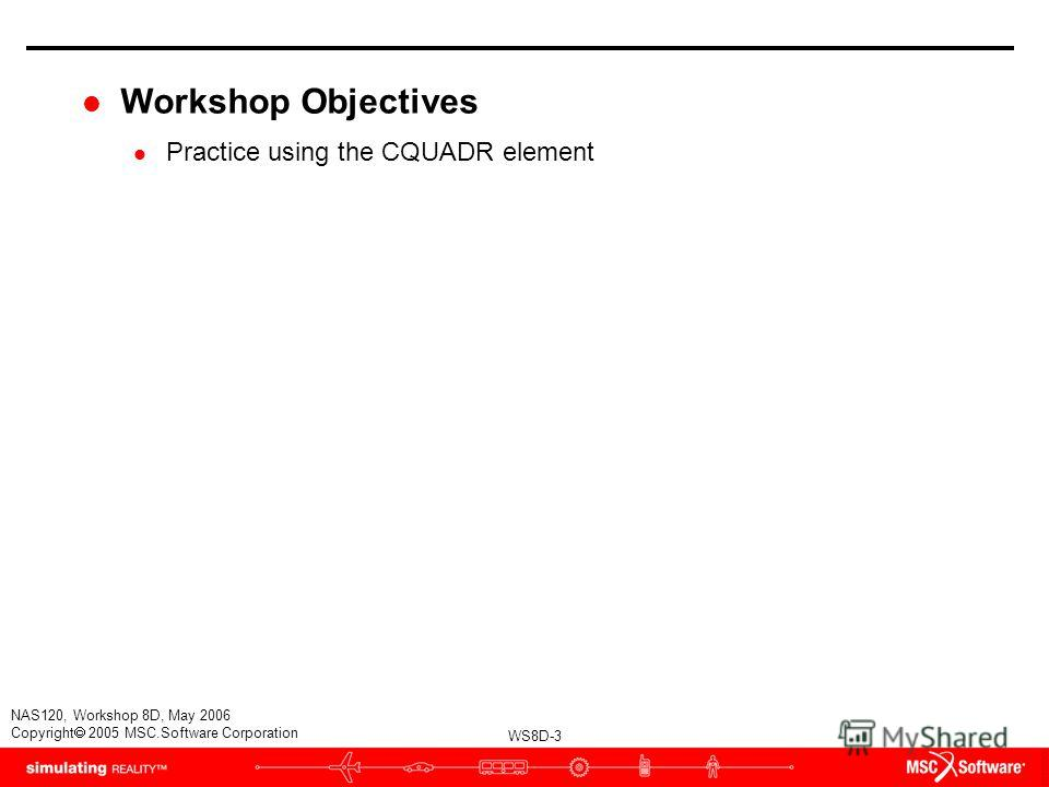 WS8D-3 NAS120, Workshop 8D, May 2006 Copyright 2005 MSC.Software Corporation l Workshop Objectives l Practice using the CQUADR element
