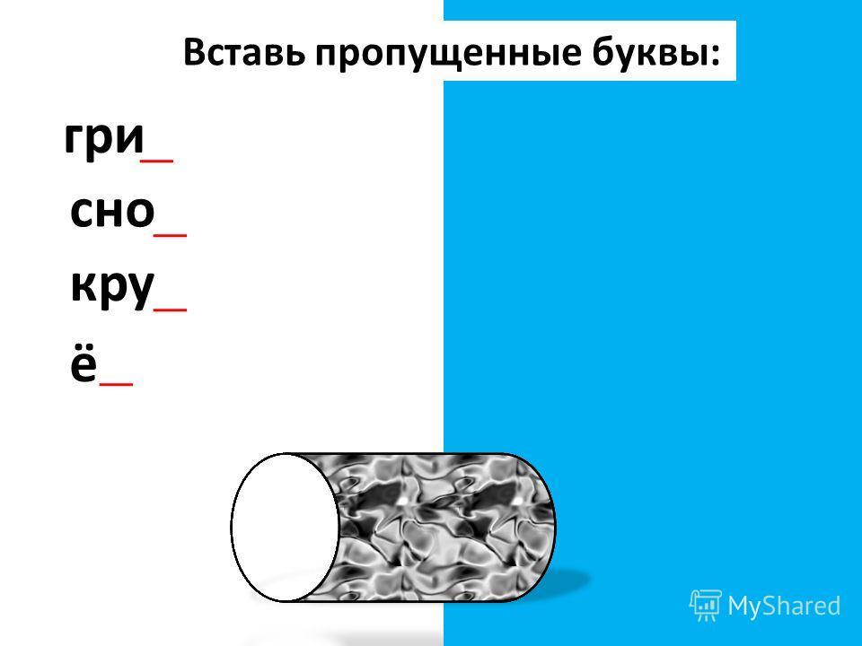 Вставь пропущенные буквы: гриб сноп круг ёжёж