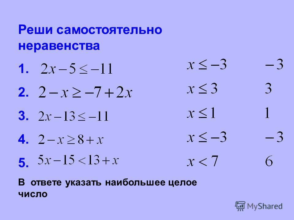 Реши самостоятельно неравенства 1. 2. 3. 4. 5. В ответе указать наибольшее целое число
