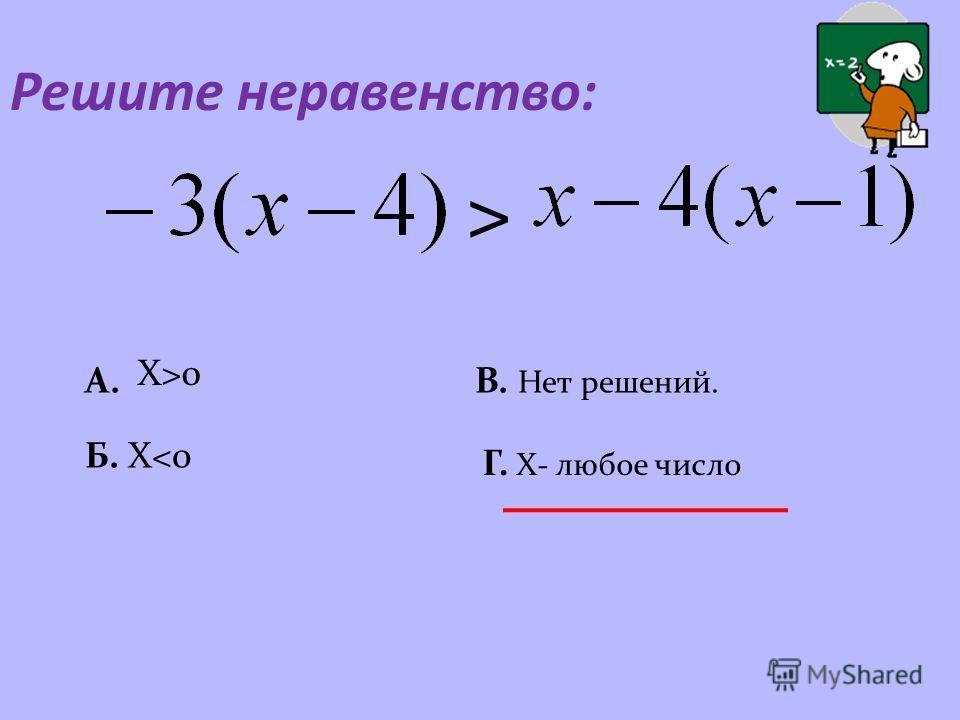 Решите неравенство : > A.A. X>0 Б. X