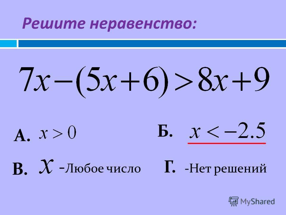 А. Б. - Любое число В. Г. -Нет решений