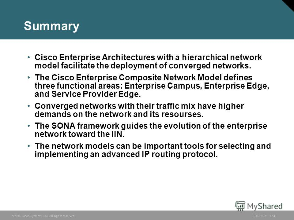 © 2006 Cisco Systems, Inc. All rights reserved.BSCI v3.01-14 Summary Cisco Enterprise Architectures with a hierarchical network model facilitate the deployment of converged networks. The Cisco Enterprise Composite Network Model defines three function