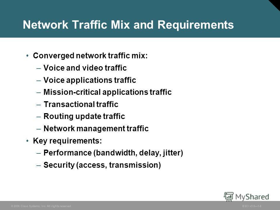 © 2006 Cisco Systems, Inc. All rights reserved.BSCI v3.01-8 Network Traffic Mix and Requirements Converged network traffic mix: –Voice and video traffic –Voice applications traffic –Mission-critical applications traffic –Transactional traffic –Routin