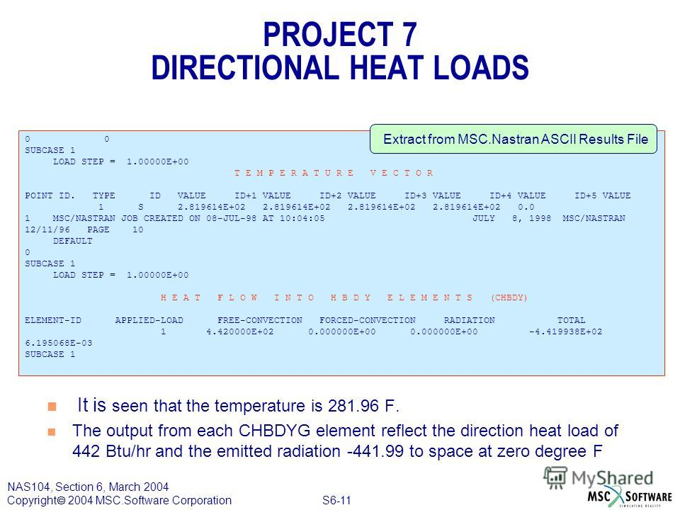 S6-11 NAS104, Section 6, March 2004 Copyright 2004 MSC.Software Corporation PROJECT 7 DIRECTIONAL HEAT LOADS n It is seen that the temperature is 281.96 F. n The output from each CHBDYG element reflect the direction heat load of 442 Btu/hr and the em