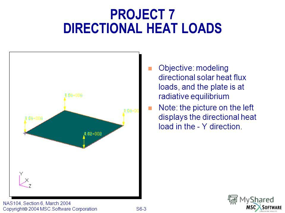 S6-3 NAS104, Section 6, March 2004 Copyright 2004 MSC.Software Corporation PROJECT 7 DIRECTIONAL HEAT LOADS n Objective: modeling directional solar heat flux loads, and the plate is at radiative equilibrium n Note: the picture on the left displays th