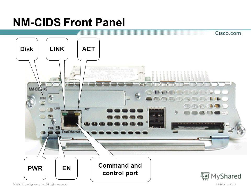 © 2004, Cisco Systems, Inc. All rights reserved. CSIDS 4.115-11 NM-CIDS Front Panel Disk Command and control port ACTLINK PWR EN