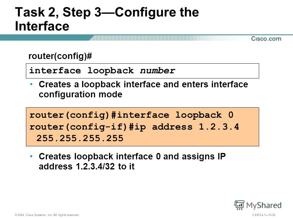 © 2004, Cisco Systems, Inc. All rights reserved. CSIDS 4.115-36 Task 2, Step 3Configure the Interface router(config)#interface loopback 0 router(config-if)#ip address 1.2.3.4 255.255.255.255 router(config)# interface loopback number Creates a loopbac