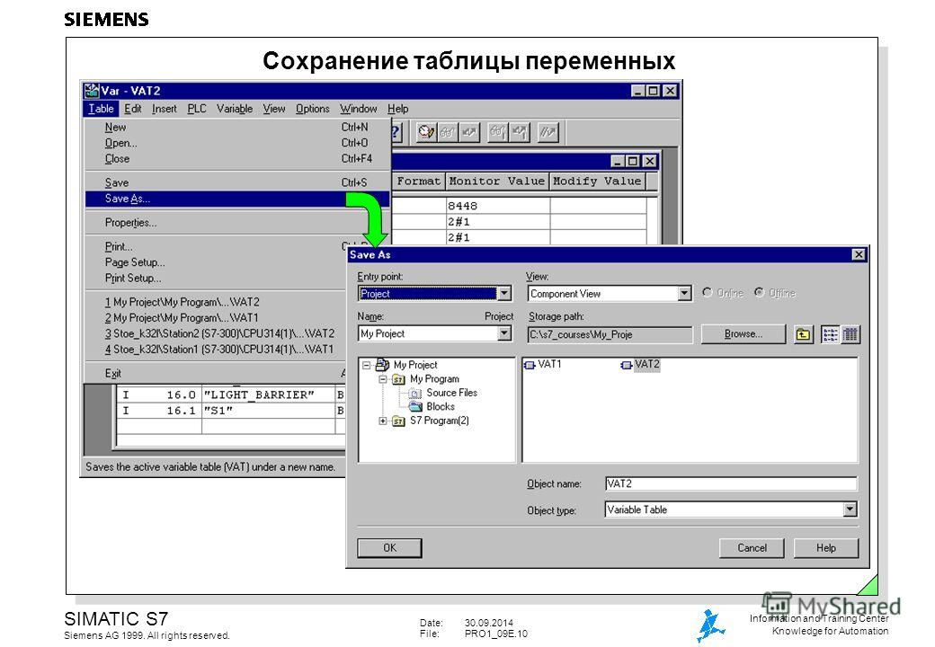 Date:30.09.2014 File:PRO1_09E.10 SIMATIC S7 Siemens AG 1999. All rights reserved. Information and Training Center Knowledge for Automation Сохранение таблицы переменных