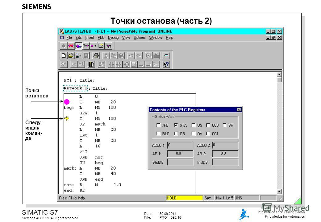 Date:30.09.2014 File:PRO1_09E.16 SIMATIC S7 Siemens AG 1999. All rights reserved. Information and Training Center Knowledge for Automation Точка останова Точки останова (часть 2) Следу- ющая коман- да