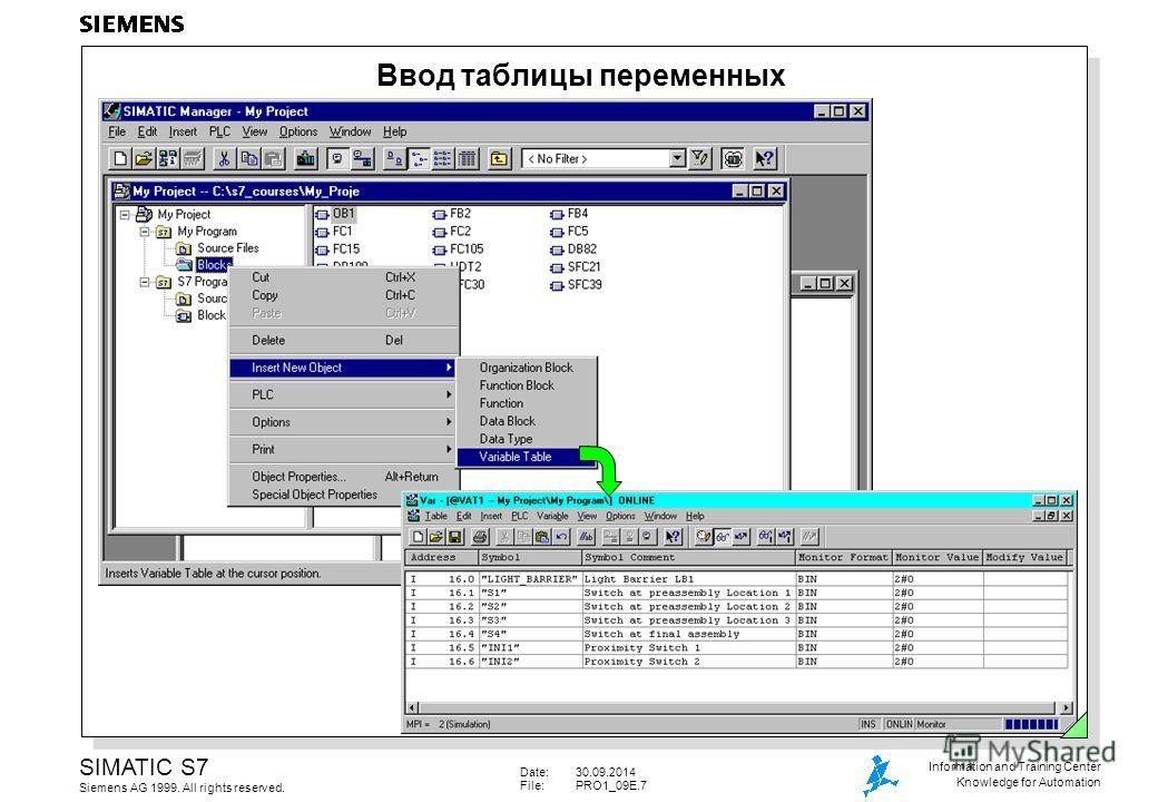 Date:30.09.2014 File:PRO1_09E.7 SIMATIC S7 Siemens AG 1999. All rights reserved. Information and Training Center Knowledge for Automation Ввод таблицы переменных