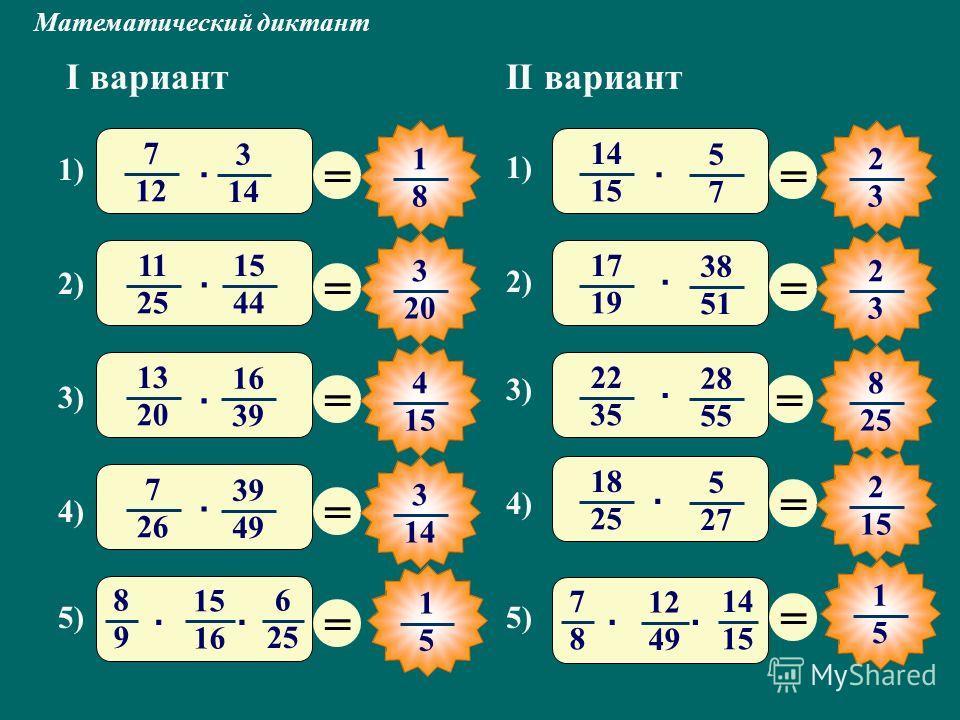Математический диктант I вариантII вариант = 1 8 = 3 20 = 4 15 = 3 14 = = 2 3 = 2 3 = 8 25 = 2 15 = 7 12 3 14 1) · 2) 11 25 15 44 · 14 15 5 7 1) · 3) 13 20 16 39 · 4) 7 26 39 49 · 5) 8 9 15 16 6 25 ·· 3) 22 35 28 55 · 2) 17 19 38 51 · 5) 7 8 12 49 14