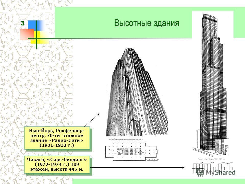 3 Высотные здания Нью-Йорк, Рокфеллер- центр, 70-ти этажное здание «Радио-Сити» (1931-1932 г.) Чикаго, «Сирс-билдинг» (1972-1974 г.) 109 этажей, высота 445 м.