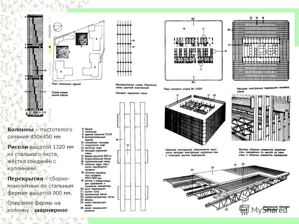 6 Высотные здания Колонны – пустотелого сечения 450 х 450 мм Ригели высотой 1320 мм из стального листа, жёстко соединён с колоннами Перекрытия – сборно- монолитные по стальным фермам высотой 900 мм. Опирание фермы на колонну - шарнирное