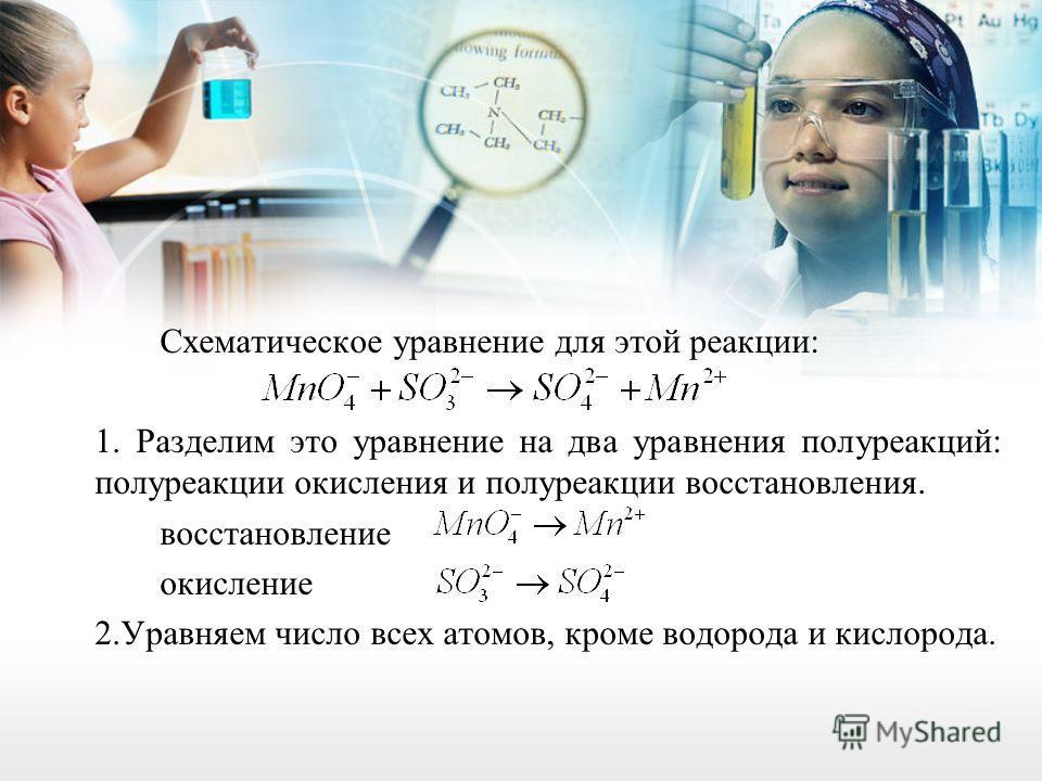 Схематическое уравнение для этой реакции: 1. Разделим это уравнение на два уравнения полуреакций: полуреакции окисления и полуреакции восстановления. восстановление окисление 2. Уравняем число всех атомов, кроме водорода и кислорода.