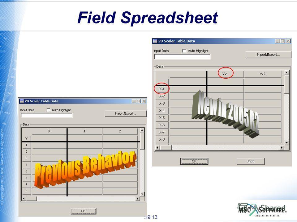 S9-13 Field Spreadsheet