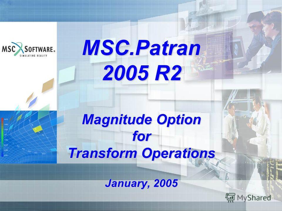 MSC.Patran 2005 R2 Magnitude Option for Transform Operations January, 2005
