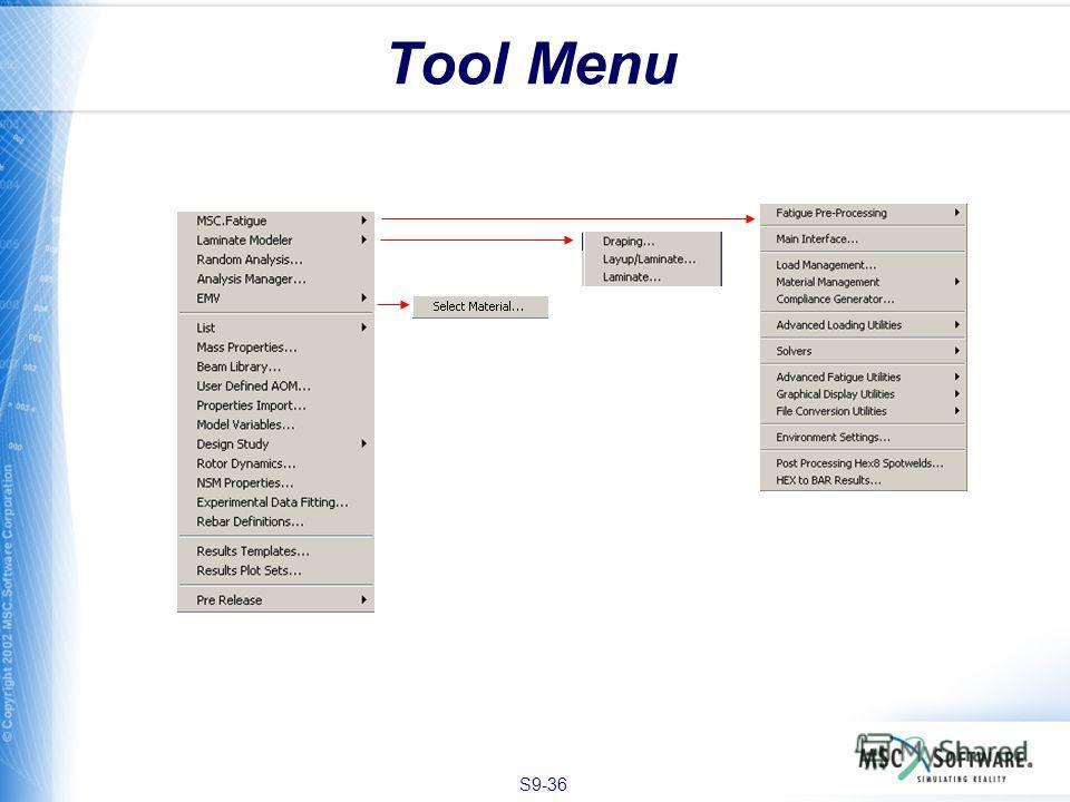 S9-36 Tool Menu