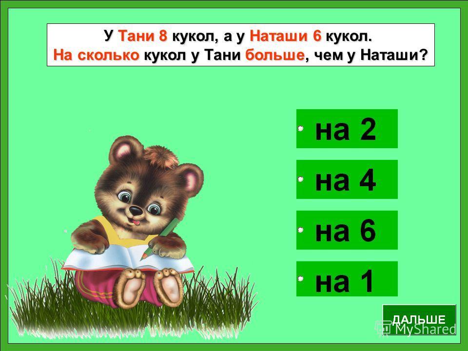 У Тани 8 кукол, а у Наташи 6 кукол. На сколько кукол у Тани больше, чем у Наташи?