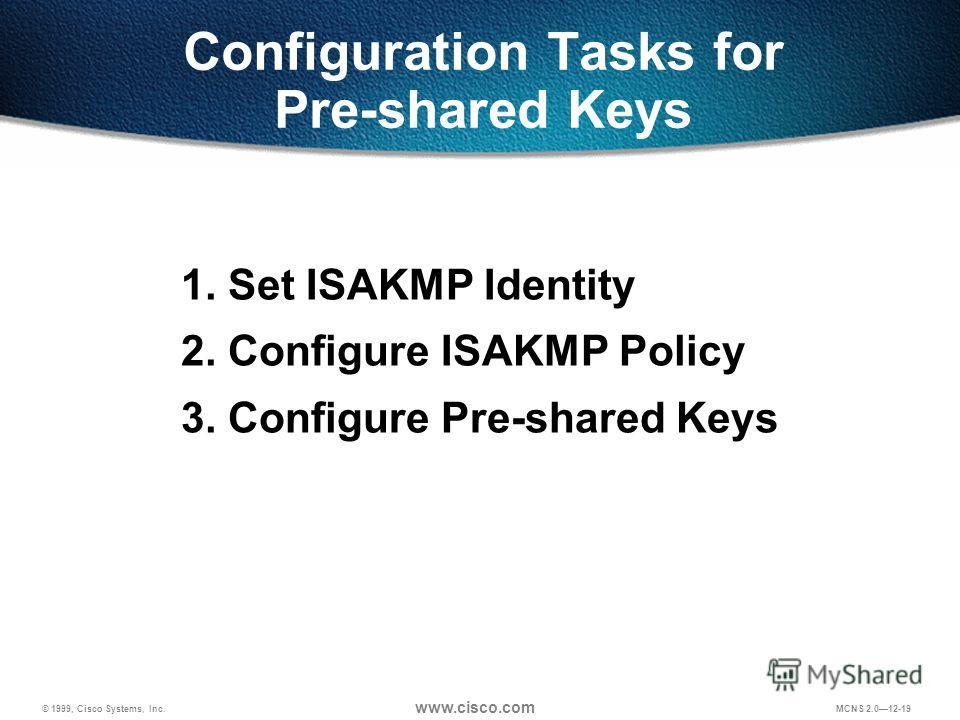 © 1999, Cisco Systems, Inc. www.cisco.com MCNS 2.012-19 Configuration Tasks for Pre-shared Keys 1. Set ISAKMP Identity 2. Configure ISAKMP Policy 3. Configure Pre-shared Keys