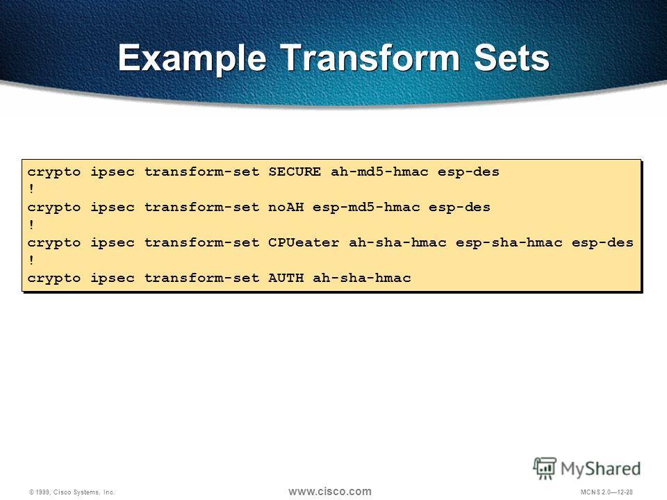 © 1999, Cisco Systems, Inc. www.cisco.com MCNS 2.012-28 Example Transform Sets crypto ipsec transform-set SECURE ah-md5-hmac esp-des ! crypto ipsec transform-set noAH esp-md5-hmac esp-des ! crypto ipsec transform-set CPUeater ah-sha-hmac esp-sha-hmac