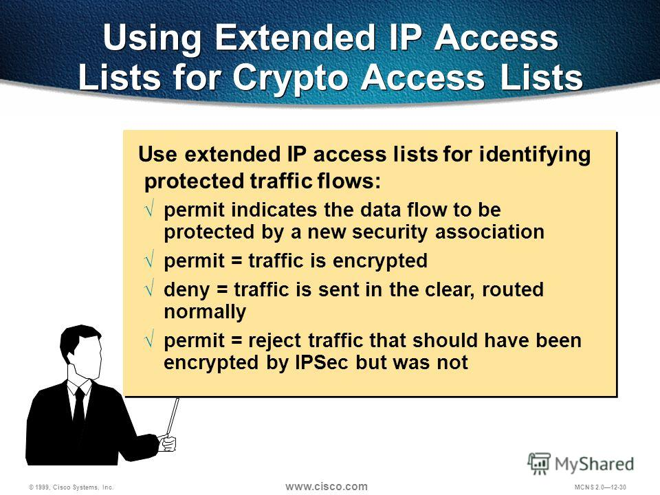 © 1999, Cisco Systems, Inc. www.cisco.com MCNS 2.012-30 Using Extended IP Access Lists for Crypto Access Lists Use extended IP access lists for identifying protected traffic flows: permit indicates the data flow to be protected by a new security asso