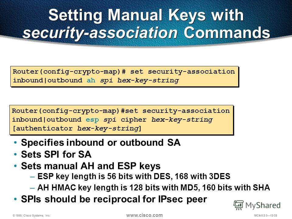© 1999, Cisco Systems, Inc. www.cisco.com MCNS 2.012-38 Setting Manual Keys with security-association Commands Router(config-crypto-map)# set security-association inbound|outbound ah spi hex-key-string Router(config-crypto-map)#set security-associati