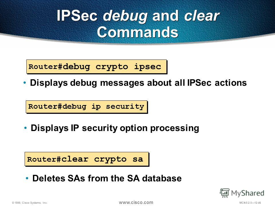© 1999, Cisco Systems, Inc. www.cisco.com MCNS 2.012-46 IPSec debug and clear Commands Router# debug crypto ipsec Displays debug messages about all IPSec actions Router#debug ip security Displays IP security option processing Router# clear crypto sa
