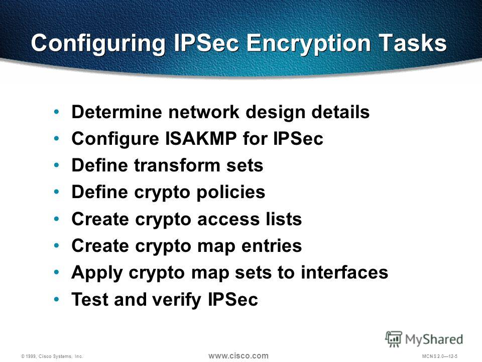 © 1999, Cisco Systems, Inc. www.cisco.com MCNS 2.012-5 Determine network design details Configure ISAKMP for IPSec Define transform sets Define crypto policies Create crypto access lists Create crypto map entries Apply crypto map sets to interfaces T