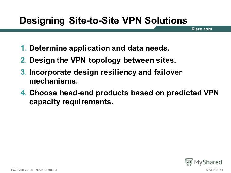 © 2004 Cisco Systems, Inc. All rights reserved. ARCH v1.29-4 Designing Site-to-Site VPN Solutions 1. Determine application and data needs. 2. Design the VPN topology between sites. 3. Incorporate design resiliency and failover mechanisms. 4. Choose h