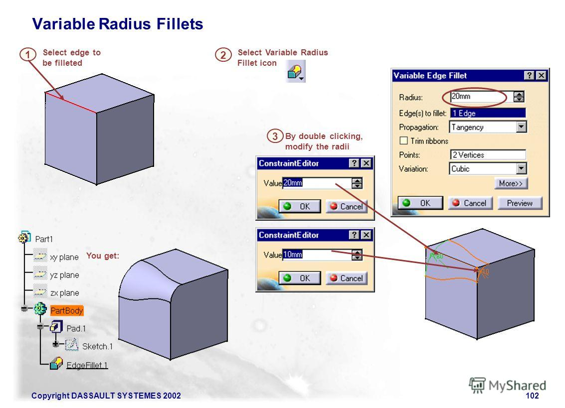 Copyright DASSAULT SYSTEMES 2002102 Select edge to be filleted 1 Select Variable Radius Fillet icon By double clicking, modify the radii 3 Variable Radius Fillets 2 You get: