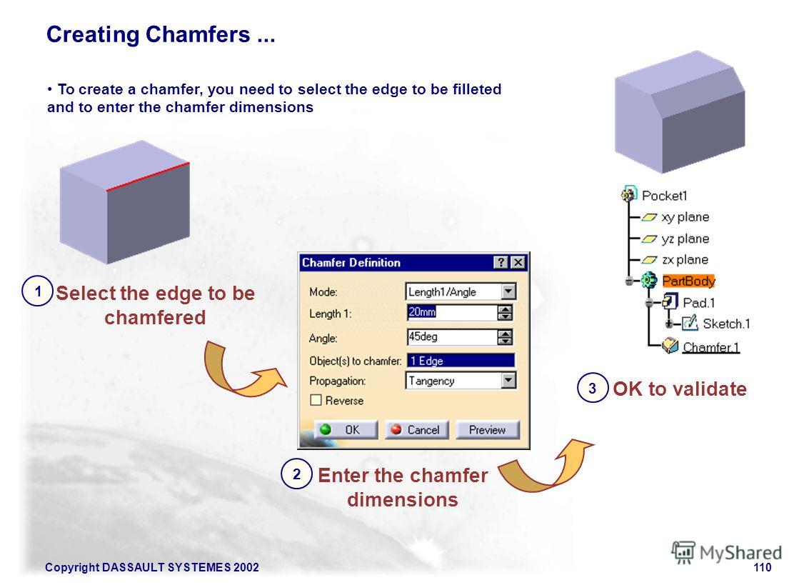 Copyright DASSAULT SYSTEMES 2002110 Creating Chamfers... Select the edge to be chamfered 1 To create a chamfer, you need to select the edge to be filleted and to enter the chamfer dimensions Enter the chamfer dimensions 2 OK to validate 3